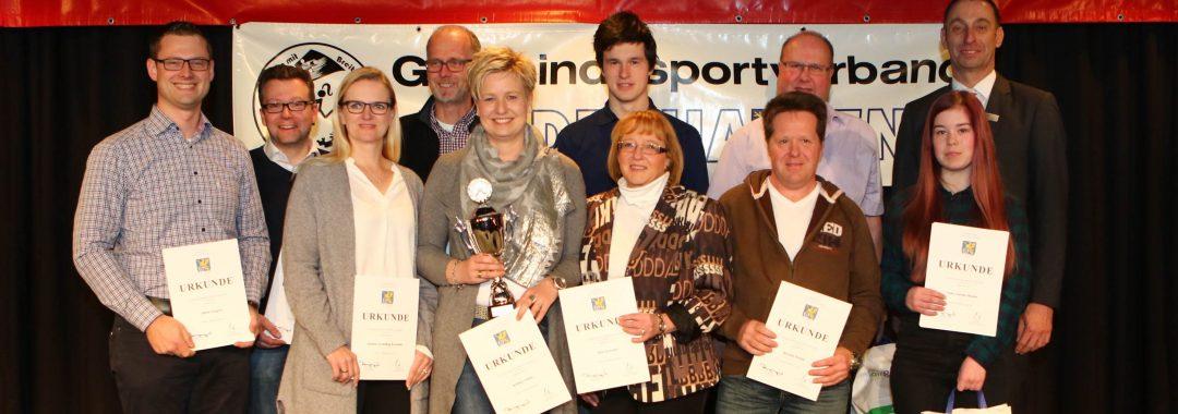 Die erfolgreichen Schießsportler der Gemeinde, Sportlerehrung Gemeinde Hiddenhausen und Gemeindesportverband in der OPG Aula